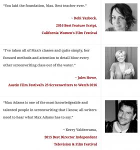 Academy of Film Writing Testimonials