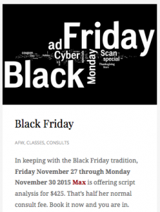 Black Friday @ AFW - Consult Frenzy!